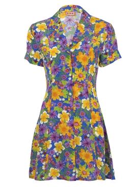 Clemenceau Dress, Floral Blue