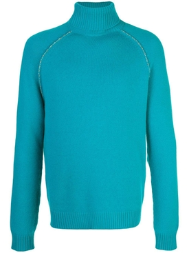 Cactus elbow patch cashmere sweater AQUAMARINE
