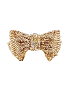 Champagne Gold Bow Crystal Clutch