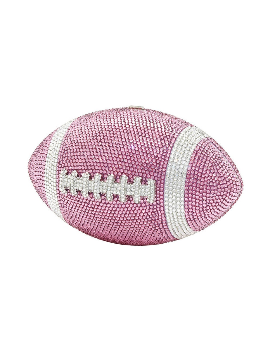 Judith Leiber PINK CRYSTAL FOOTBALL CLUTCH