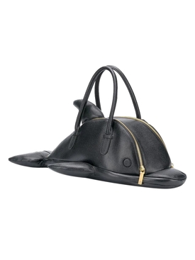 Black leather dolphin bag