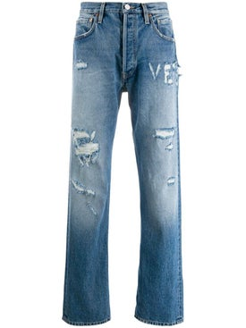 Vetements - Distressed Logo Jeans - Denim