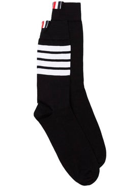 Thom Browne - Tricolor Logo Socks Black - Men