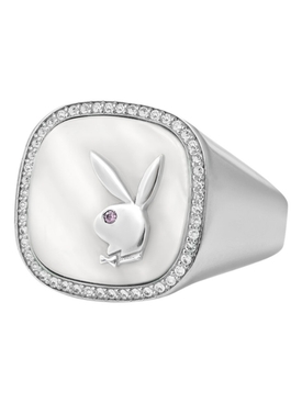 X Playboy Membership Ring, Sterling silver and  Pearl with bezel