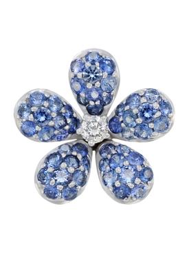 BLUE SAPPHIRE & DIAMOND FLOWER EARRING