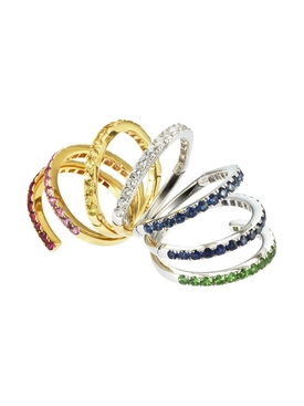 DIAMOND & SAPPHIRE CONNECTOR RAINBOW RING