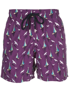 Purple sailboat print swim shorts
