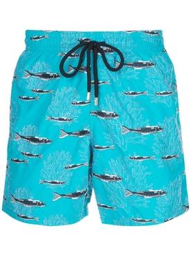 Blue fish print swim shorts