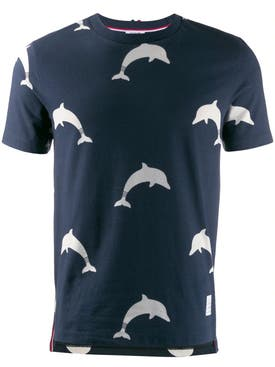 Thom Browne - Dolphin Print T-shirt Navy - Men