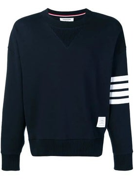 Thom Browne - 4-bar Sleeve Cotton Sweatshirt Navy - Men