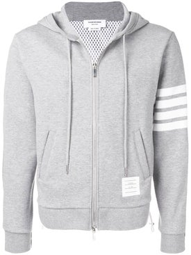 Thom Browne - Striped Sleeve Zip Up Hoodie Grey - Hoodies