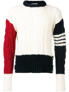 Thom Browne - Tricolor Cable Knit Sweater - Men