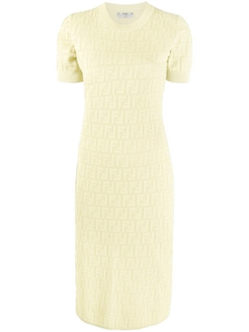 Fendi - Monogram Devore T-shirt Dress Yellow - Women
