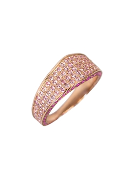 Rose gold Pink pavé sapphire modernist ring