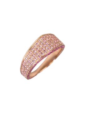 Rose gold Pink pavé sapphire modernist ring