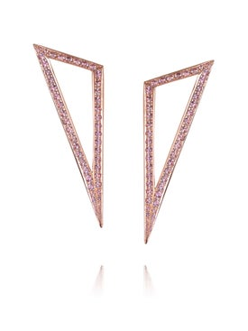 Ralph Masri - Modernist Rose Gold Pink Sapphire Triangle Earrings - Women