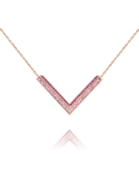 Modernist Rose Gold Pink Sapphire Triangle necklace