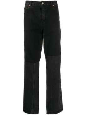 two-tone straight leg jeans BLACK