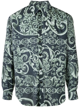 pleated baroque print shirt GREEN