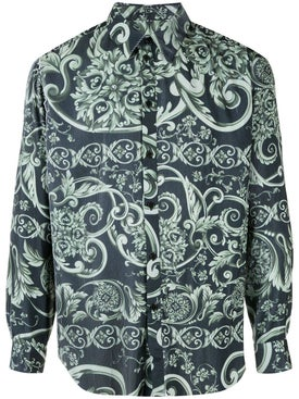 Martine Rose - Pleated Baroque Print Shirt Green - Men
