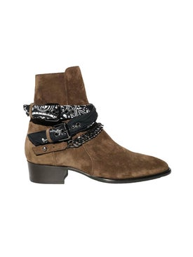 Amiri - Chocolate Brown Bandana Buckle Boots - Men