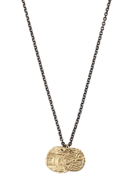GOLD COINS ON OXIDIZED CHAIN NECKLACE