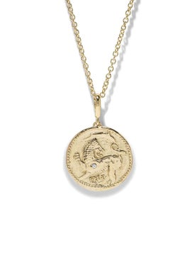 Azlee - 18k Yellow Gold Small Animal Kingdom Diamond Coin Necklace - Women