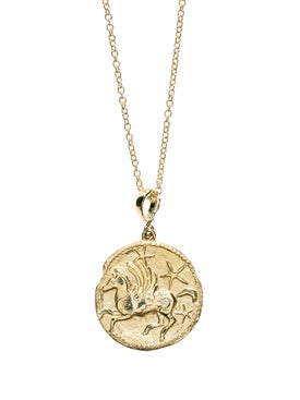 Azlee - Limited Edition 18k Yellow Gold Large Pegasus Diamond Coin Necklace - Women