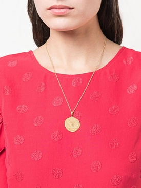 14kt gold Sea coin diamond necklace