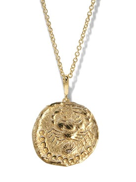 Azlee - Limited Edition 18k Yellow Gold Large Karkinos Diamond Coin Necklace - Fine Necklaces