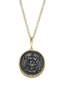 LION DIAMOND ITALIAN GLASS COIN NECKLACE