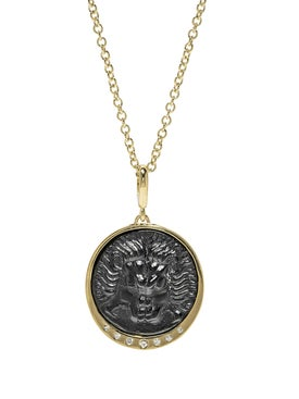Azlee - Lion Diamond Italian Glass Coin Necklace - Women