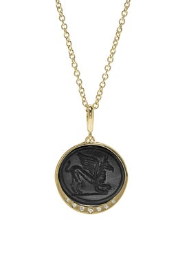 Azlee - Griffin Black Glass Coin Necklace - Women