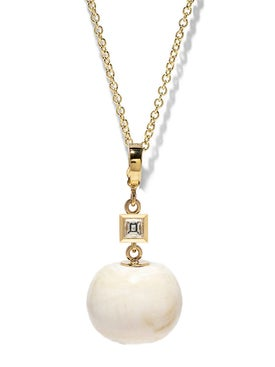 Azlee - 18k And Carre Diamond Fossil Shell Necklace - Women
