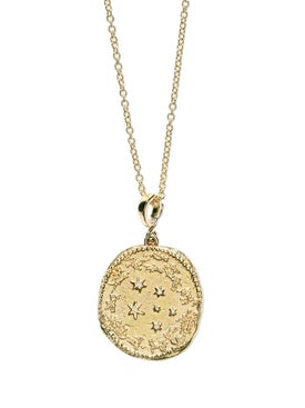 Azlee - Zodiac Large Diamond Coin Necklace With Chain - Women