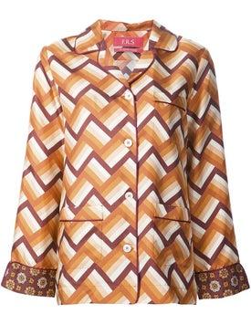 For Restless Sleepers - Chevron Pajama-style Shirt - Women