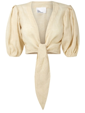Cropped Pouf tie blouse NATURAL