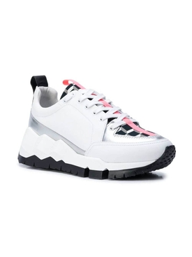 White and pink leather sneakers