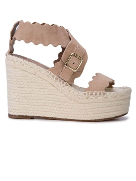 Neutral leather wedge sandals