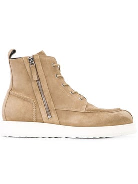 Pierre Hardy - Up State Leather Boots Khaki Suede - Men