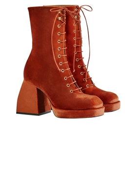 Nodaleto - Bulla Lace Up Tangerine Velvet - Women
