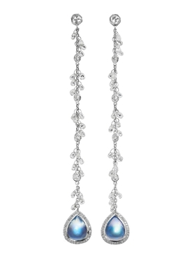 Clair de lune moonstone and diamond chain earrings