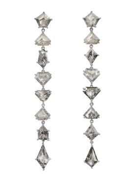 Clair de lune organic mix shape diamond earrings
