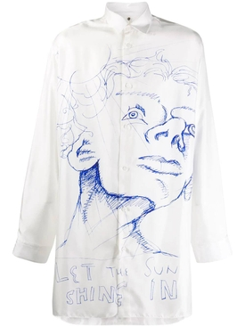 Sketch-print silk shirt