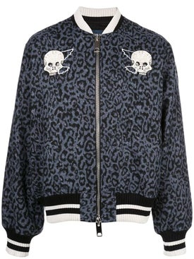 Lost Daze - Skeleton Leopard Print Bomber Jacket - Men