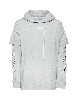 Off-white - Airport Tape Hooded Sweatshirt Melange Gray - Men