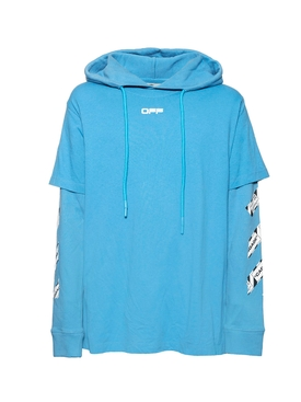 Off-white - Airport Tape Hooded Sweatshirt Blue - Men