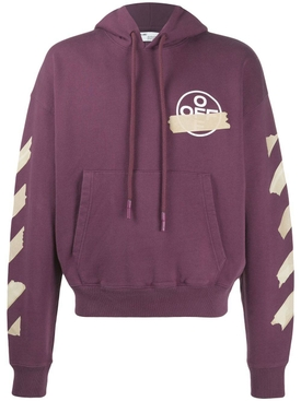 Tape arrows print hoodie PURPLE/BEIGE