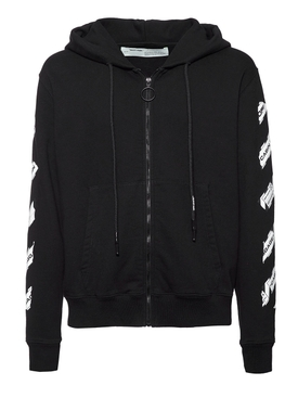 Off-white - Zipped Airport Tape Hoodie Black - Men