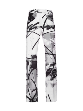 Futura Spray Paint Print Pants BLACK/WHITE